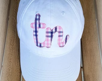 Tn State Ball Cap- Preppy Plaid Ball cap-College hat-Christmas Gift-Ladies State Hat-Appliqued State-Plaid Fabric Patch-
