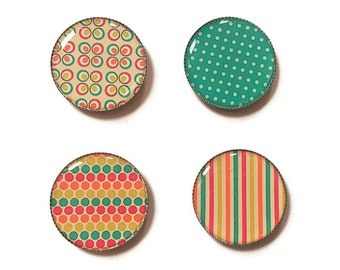 Refrigerator magnets, colorful magnets, polka dots, stripe magnets, flower magnet, fridge magnets, office magnets