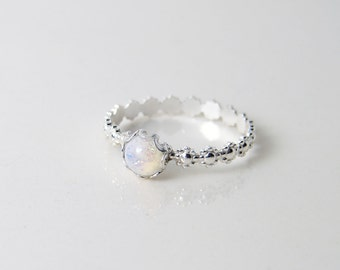 Vintage Opal Rhinestone Ring. White Opal Glass Stone on a Daisy RIng. Made to Order. Stacking Ring. October Birthday