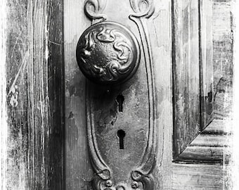 Black and White Distressed Old  Vintage Door Knob Architectural Detail Still Life Fine Art Photography Print or Gallery Canvas Wrap Giclee