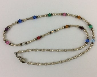 """Vintage Colorful Sterling Silver 925 Necklace w/ Plastic Beads 23.5"""" 0.959 Oz"""
