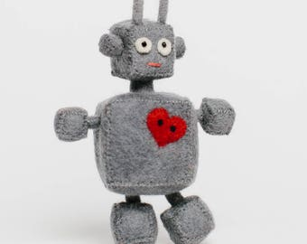 Robot Ornament, Heart Bot Robot, Felt Christmas Ornament
