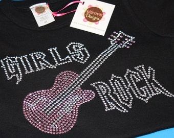 GIRLS ROCK with guitar rhinestud tee by Daisy Creek Designs