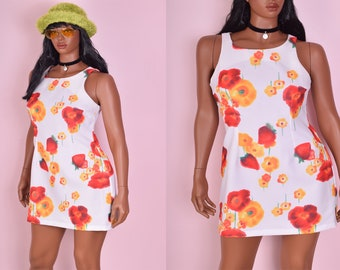 90s Floral and Strawberry Print Dress/ Large/ 1990s/ Tank/ Sleeveless