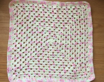 White and Variegated Doll Blanket - Granny Square - Hand Crochet