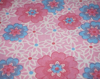 Vintage Stoff fabric tissu fleurs 70s 70er cotton flowers 50 x 125 cm
