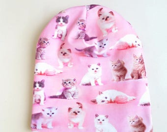 Hat cat beanie Hat with cat Toddler girl hat Cat hat cotton Baby girl autumn hat, Toddler girl spring hat