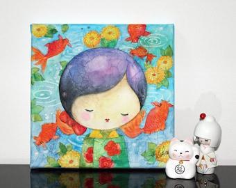 "KOKESHI - Watercolor on canvas: ""Michiko and koi carp"""