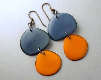 Denim Blue and Cantaloupe Orange Tagua Nut Eco Friendly Earrings with Free USA Shipping #taguanut #ecofriendlyjewelry