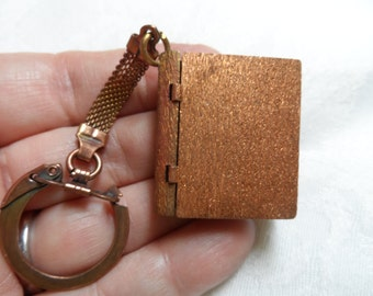 "Raw copper large book keychain,3&3/4"",1pc-KC488"