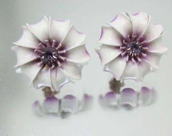 Vintage Enamel Flower Earrings Purple White Rhinestone Clip On