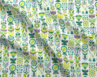 Summer Scandi Flowers Fabric - Honey Meadow Flowers By Nellik - Mod Scandi Girls Nursery Flower Cotton Fabric By The Yard With Spoonflower