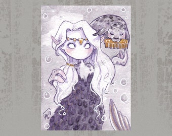 MerMay 2018 Card 2 - Original ACEO, watercolor painting