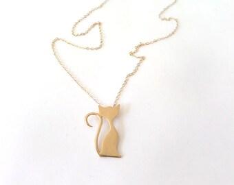 Gold Cat necklace, Pet necklace, cat lover gift, cat pendant necklace, pet charm.