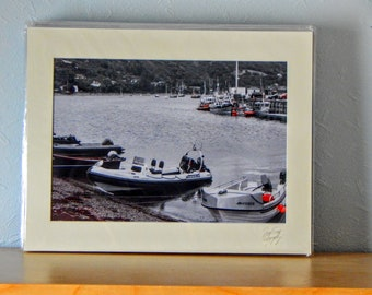 Harbour in Orange, Ullapool - A4, Mounted Print