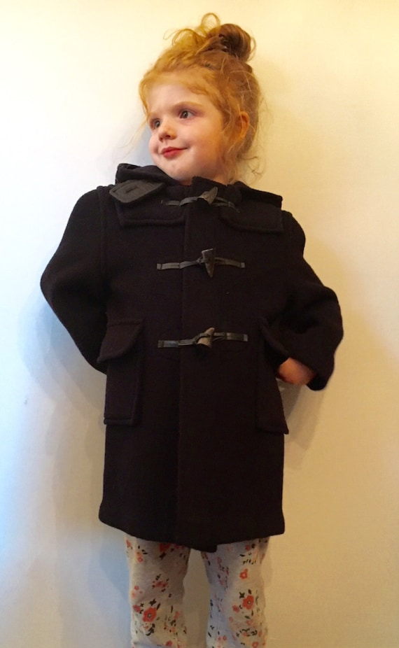 Vintage The Scotch House Made in England Navy Unisex Wool Winter Peacoat with Plaid Interior Children's Size 4