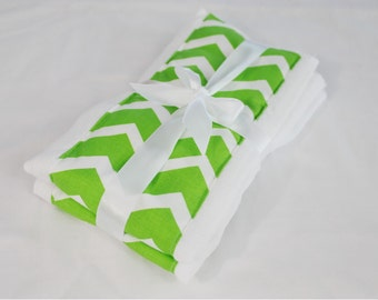 Bright Green Chevron Burp Cloths - Set of 2