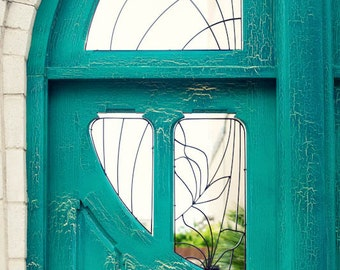 door photography, turquoise door, arched, large living room art, downtown waco texas, weathered, bedroom art, cottage home decor,