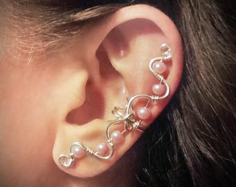 Silver Ear Cuff Pink Pearls Large Ear Wrap