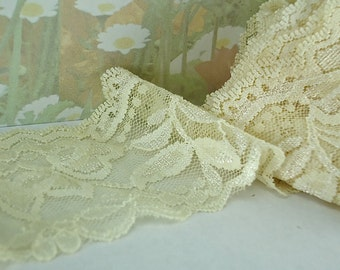 3yds Stretch Lace 2 inch wide Antique White Elastic Ribbon Trim Elastic Stretch Lace Light Cream Headbands Elastic Lace by the yard