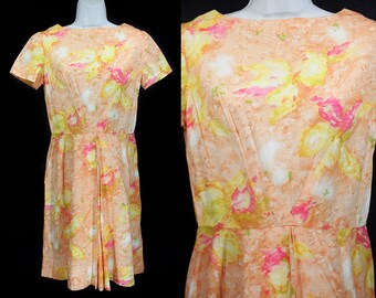 Vintage 50's Pastel Orange & Pink Floral Dress M