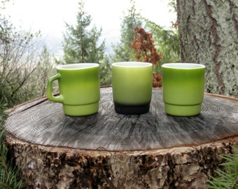 Vintage 60s-70s Fire King Stacking Restaurant Mugs - Green