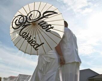 Custom wedding parasol thank you just married