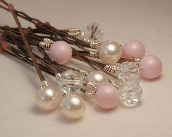 Blush Pearl Bobby Pins, Pastel Pink and Ivory Pearls with Clear Crystals on Bronze Pins, Set of 12, Blush Bobby Pin Set, Pink Hair Pin, 8 mm
