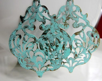 Turquoise Blue Earrings, Gypsy Earrings, Blue patina, Ornate earrings, Large earrings, Tribal Jewelry, Bohemian Earrings,  Redpeonycreations