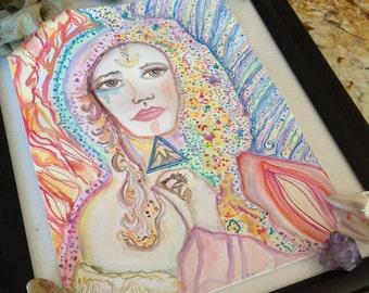 MAIDEN MARY, Blessed Mother, Mother of Jesus, Spiritual, Divine feminine, watercolor, sacred altar, Goddess, Priestess, Healing Energy,