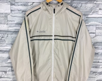 COLUMBIA Windbreaker Mens Jacket Small Vintage Columbia Sportswear Outdoor Usa Sportswear Jacket Nylon Sports Windbreaker Hoodie Size S
