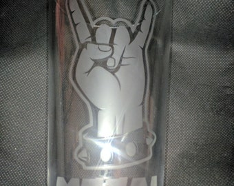 Heavy Metal  Etched pint glass