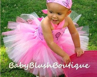 Tutu Triple Pink Western Tutu Cowgirl Baby Toddler Tutu Outfit Costume Set 3 pc (Tutu, Stylish Top, Headband)