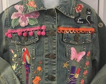 Decorated girls' Denim  Jeans Jacket 4T -