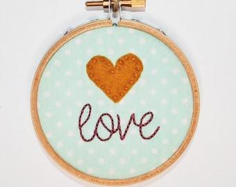 """Love 3"""" Embroidery Hoop"""
