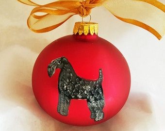 Kerry Blue Terrier Dog Hand Painted Christmas Ornament - Can Be Personalized with Name