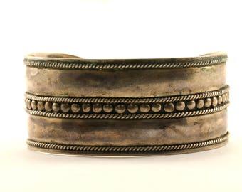 Vintage Beaded Design Wide Cuff Bracelet 925 Sterling BR 2181