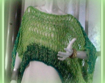 SWEATER WOMAN'S KNITTED Poncho with Sleeves Bikini Cover-up