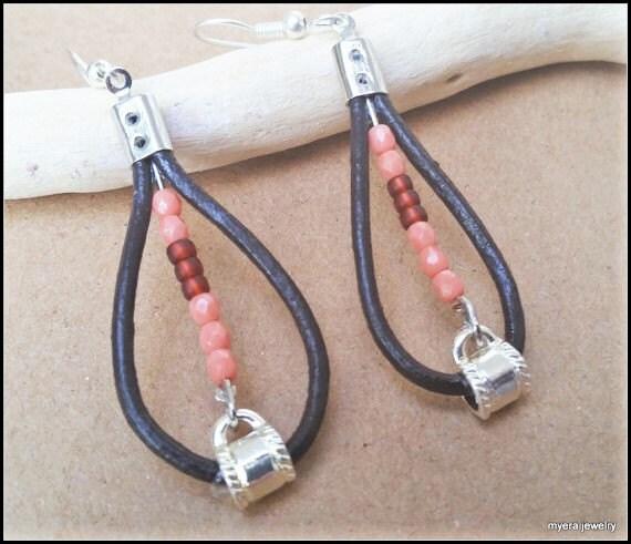 Leather Teardrop Earrings, Leather Hoop Earrings, Large Dangle Earrings, Fall colors Earrings, Peach Earrings, Womens Ball Earrings