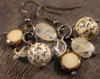 Betel nut beads, citrine, jade stone, czech glass and antique brass natural handmade earrings
