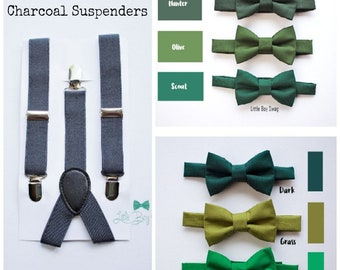 Green Bow Tie Charcoal Suspenders For Boys To Men, Baby Boy Bow Tie, Wedding Bow Tie, Toddler Bow Tie, Ring Bearer Outfit, Mens Bow Tie