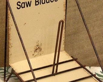 Now 20% off Vintage INDUSTRIAL DISPLAY Sign, Advertising, Saw Blades, metal stand