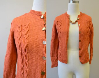 1950s Terra Cotta Cable Knit Cardigan