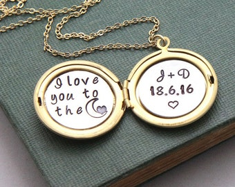 Personalized Necklace, Locket Necklace, Initial Locket, Personalized Gift, Date necklace, I love you to the moon, Personalized wedding