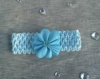 Newborn-Infant Baby Blue Crochet Headband with Flower