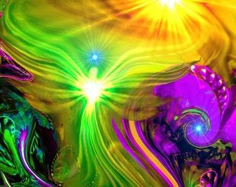 "Rainbow Psychedelic Angel Art, Reiki Sun Meditation ""Awakening"""