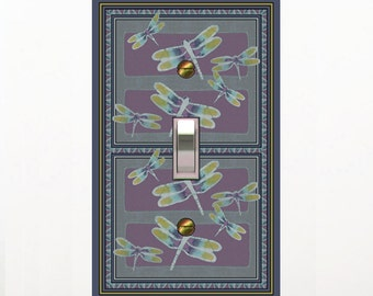 0239X - Asian Batik Dragonflies light switch plate - - mrs butler switchplates -