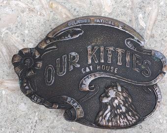 Vintage RARE Our Kitties CAT HOUSE Captain Hawks Sky Patrol Metal Belt Buckle