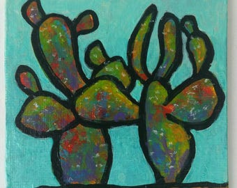 Cacti  : colorful acrylic painting desert