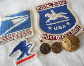 Lot of 6 VINTAGE United States Postal Service Patches & Metal Uniform BUTTONS
